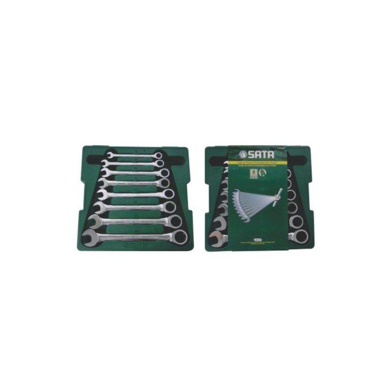 Jogo de Chave Combinadas com Catraca 8 a 19 mm com 8 Peças  ST08008SJ  SATA