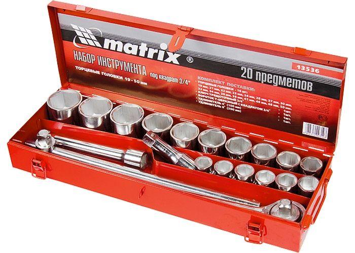 Jogo de soquete 3/4 pol. 19 - 50 mm, 20 peças, cx metal MTX