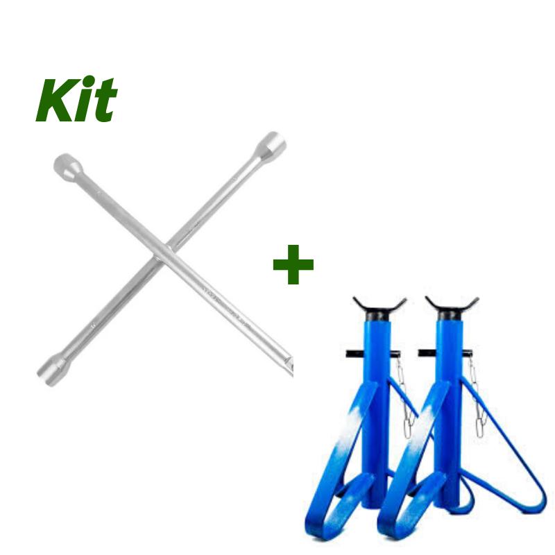 Kit 02 Cavaletes de Apoio 2t + 01 Chave de Rodas Stels