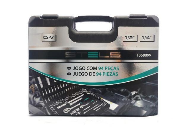 Kit Chave Catraca Soquetes enc. 1/2 E 1/4 - 94 Peças STELS