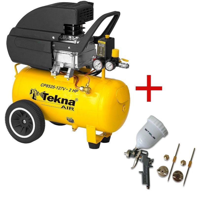 Compressor de Ar 24 Litros TEKNA 220V + (BRINDE) PISTOLA DE PINTURA 600 ML TIPO GRAVIDADE COM KIT DE BOCAIS STELS