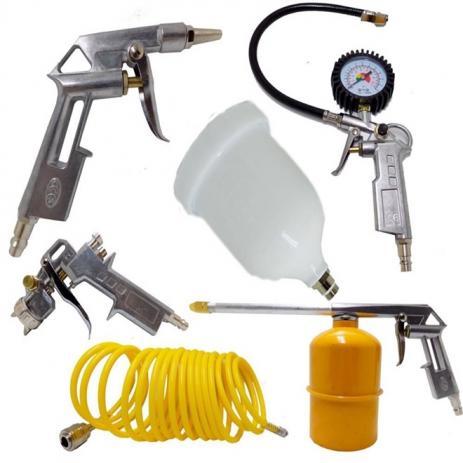 Kit de Jogo Pneumático para Pintura com 5 Peças para Compressor de Ar  TEKNA