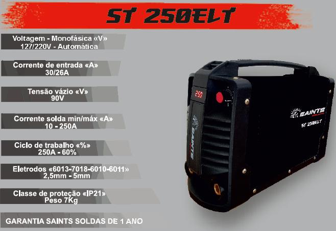 Máquina Inversora de Solda 250A Bivolt ST 250 ELT  SAINTS