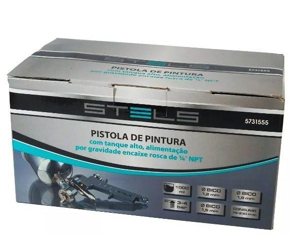 Pistola de Pintura c/ tanque alto, 1 litro, alimentação por gravidade enc rosca de 1/4 NPT STELS