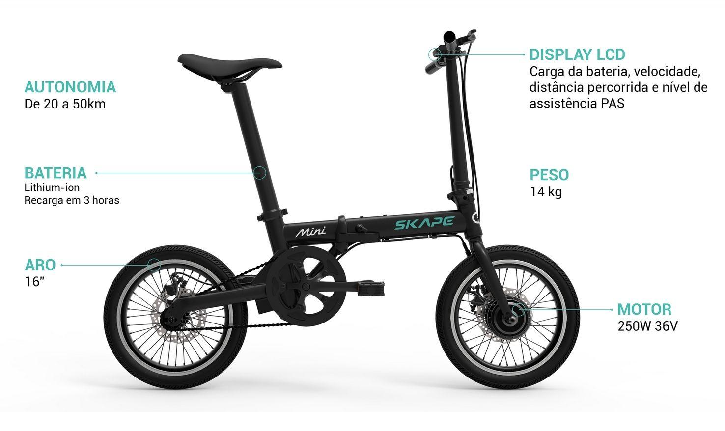 Bicicleta Elétrica Dobrável Skape Mini 250W / 16