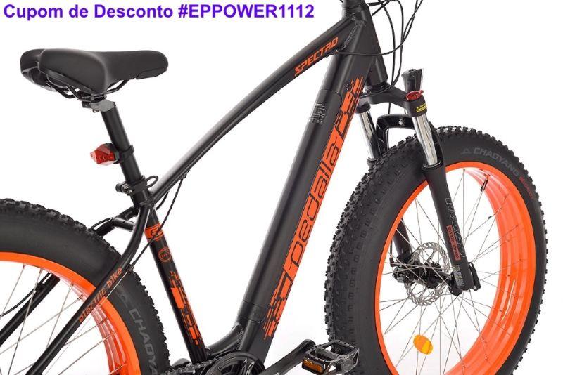 """Bicicleta Elétrica Fat Bike Pedalla - NOVA SPECTRO, ARO 26"""" X 4.0"""", QUADRO 17"""" ou 19"""" DE ALUMÍNIO, MOTOR 350W E BATERIA DE LITIO 36V X 11,06 Ah - Cupom #EPPOWER1112"""