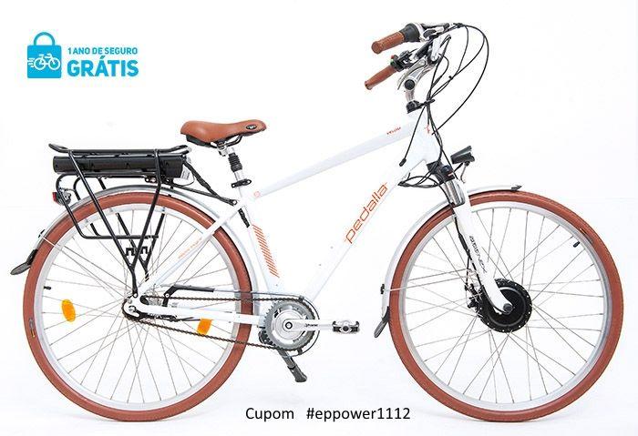 """Bicicleta Elétrica Pedalla VELOM , ARO 700C, QUADRO 18"""" DE ALUMINIO, MOTOR 350W E BATERIA DE LÍTIO 36V X 11,60 AH - Cupom #EPPOWER1112"""