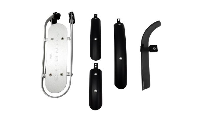 Kit acessórios Yunbike C1- Prata - Paralamas / Bagageiro / Protetor de corrente