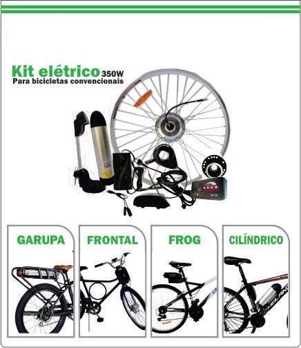 Kit Conversão Bicicleta Elétrica Dianteira 350W - Bateria Litio 36V 10Ah - Completo