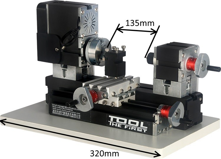 Mini Torno de Metal Bancada - The First Tool - 60W, 12000rpm Motor Big Power - TZ20002MG - Montado