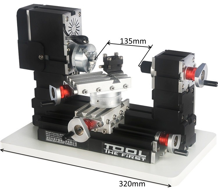 Mini Torno de Metal com Mesa Giratória - The First Tool - 60W, 12000rpm Motor Big Power - TZ20002MR - Montado