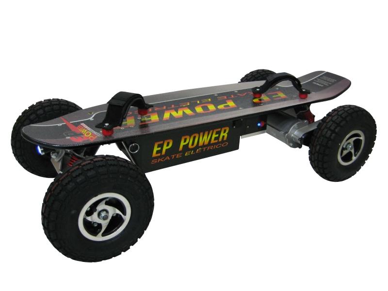 Skate Elétrico Off Road 800w  - EPPOWER c/ Farol, Lanterna, Controle Digital, 14ah