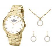 Kit Relógio Champion Feminino Com Colar E Brincos CN29874W