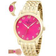 Relógio Champion Feminino Dourado Com Rosa Cn28455l