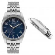 Relógio Condor Masculino Co2035kyd/k3a Prata Fundo Azul Brinde