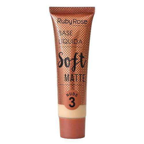 Base Líquida Ruby Rose Soft Matte Cor Nude 03 - 29ml Hb-8050