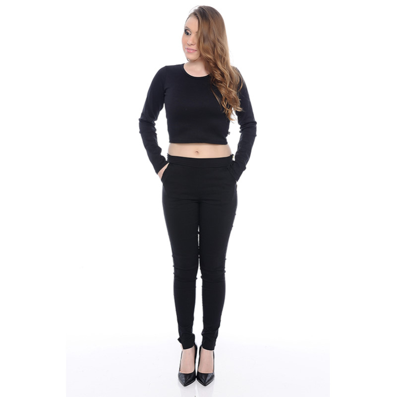 TOP CROPPED COSTAS ENTRELAÇADAS PRETO