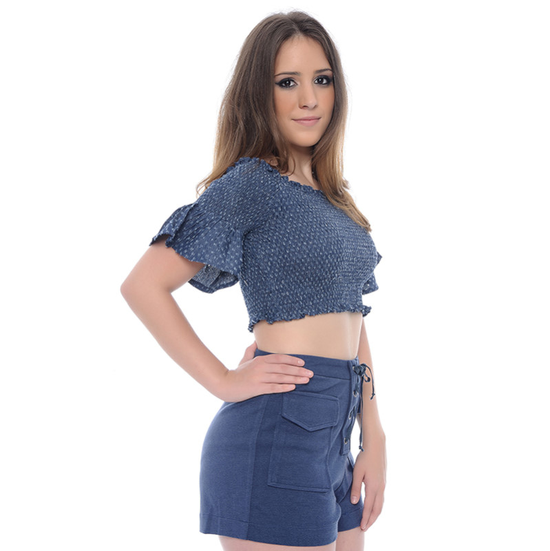 TOP CROPPED AZUL