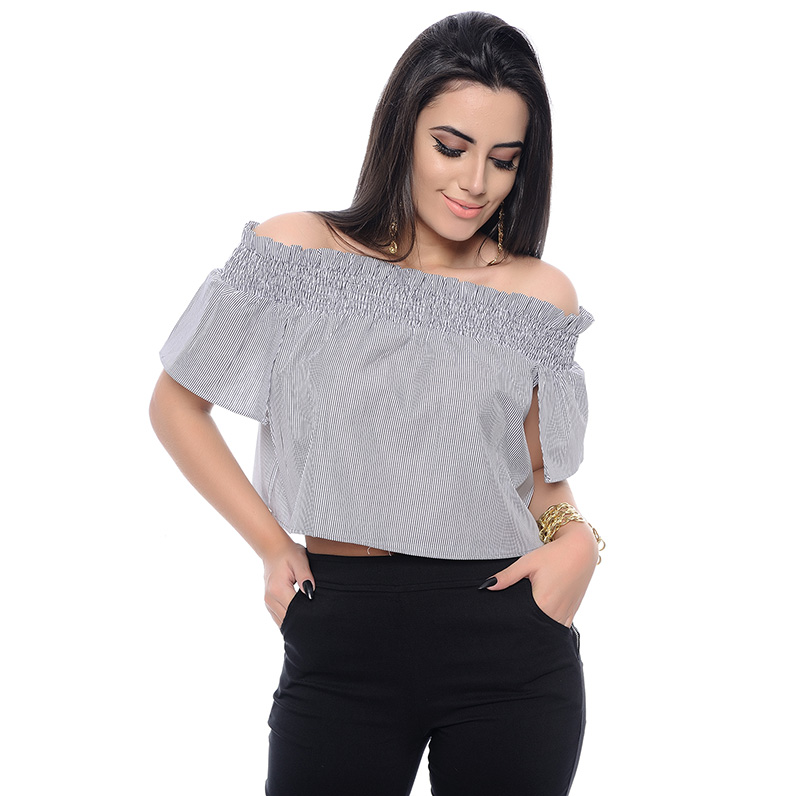 CROPPED TOP LISTRAS PRETO/BRANCO