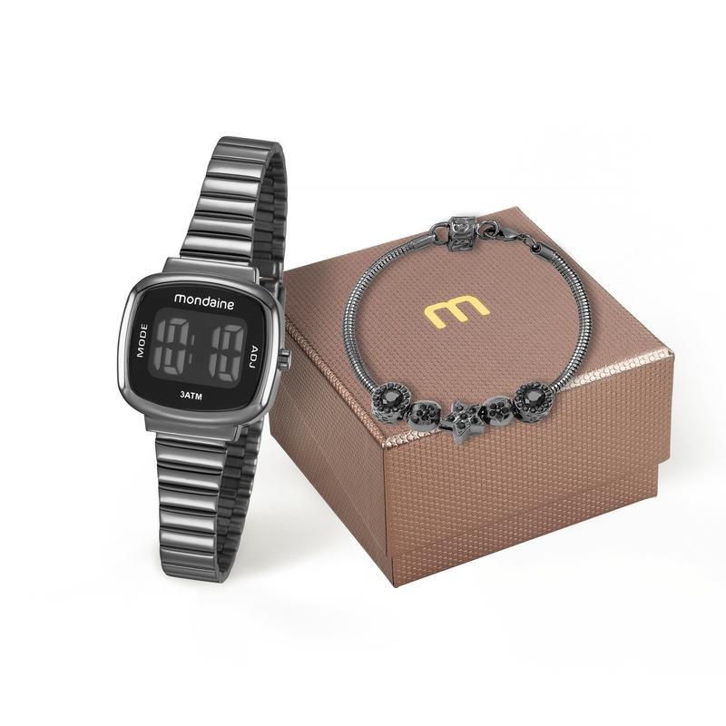 Kit Relógio Mondaine 53717lpmvpe3k1 Com Pulseira Digital Preto