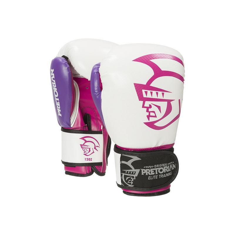 Luva Muay Thai Boxe Elite - Pretorian [rosa com branco] 10oz