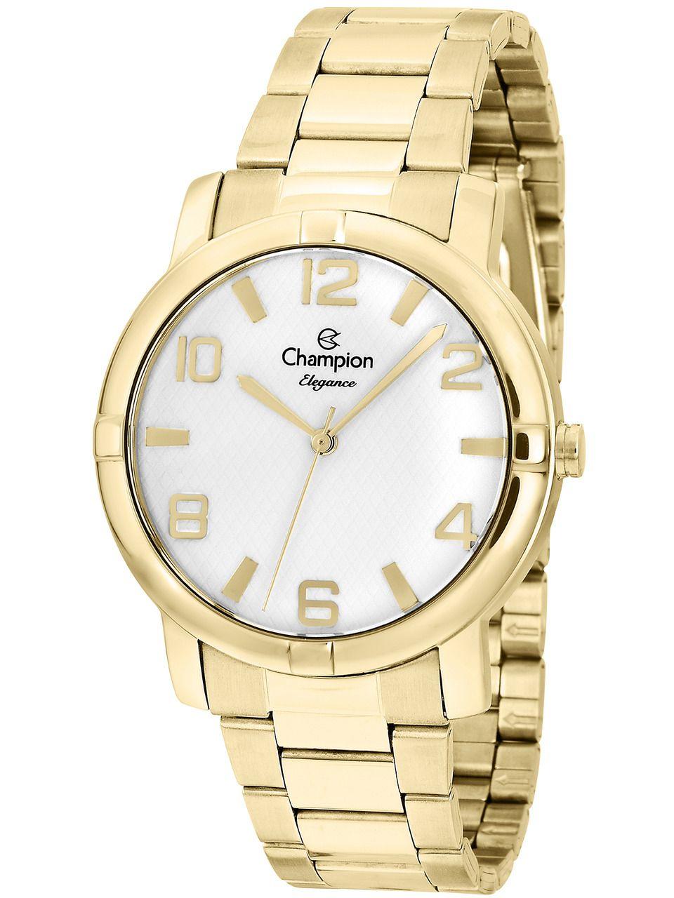 Relógio Champion Feminino Dourado Cn25181w Kit Semi Jóia