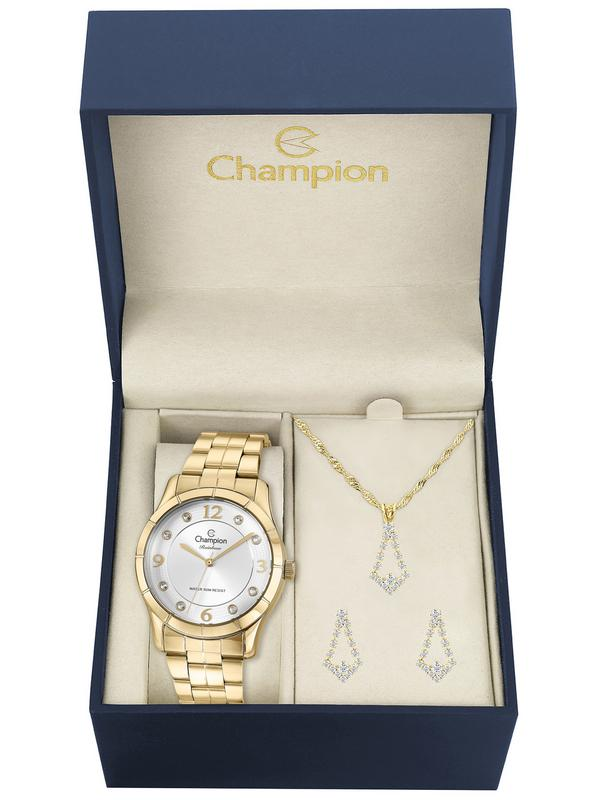 Relógio Champion Feminino Dourado Cn29909w Kit Semi Jóia