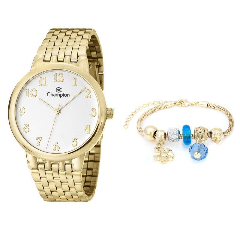 Relógio Champion Feminino Dourado Cn29911s+ Pulseira Berloque