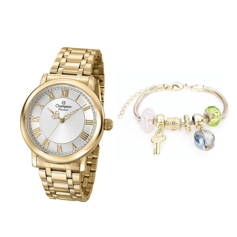 Relógio Champion Feminino Dourado + Pulseira Berloque