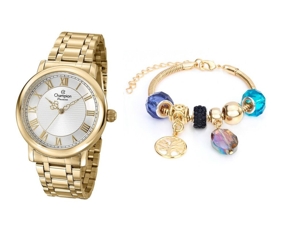 Relógio Champion Feminino Dourado Cn29936s + Pulseira Berloque