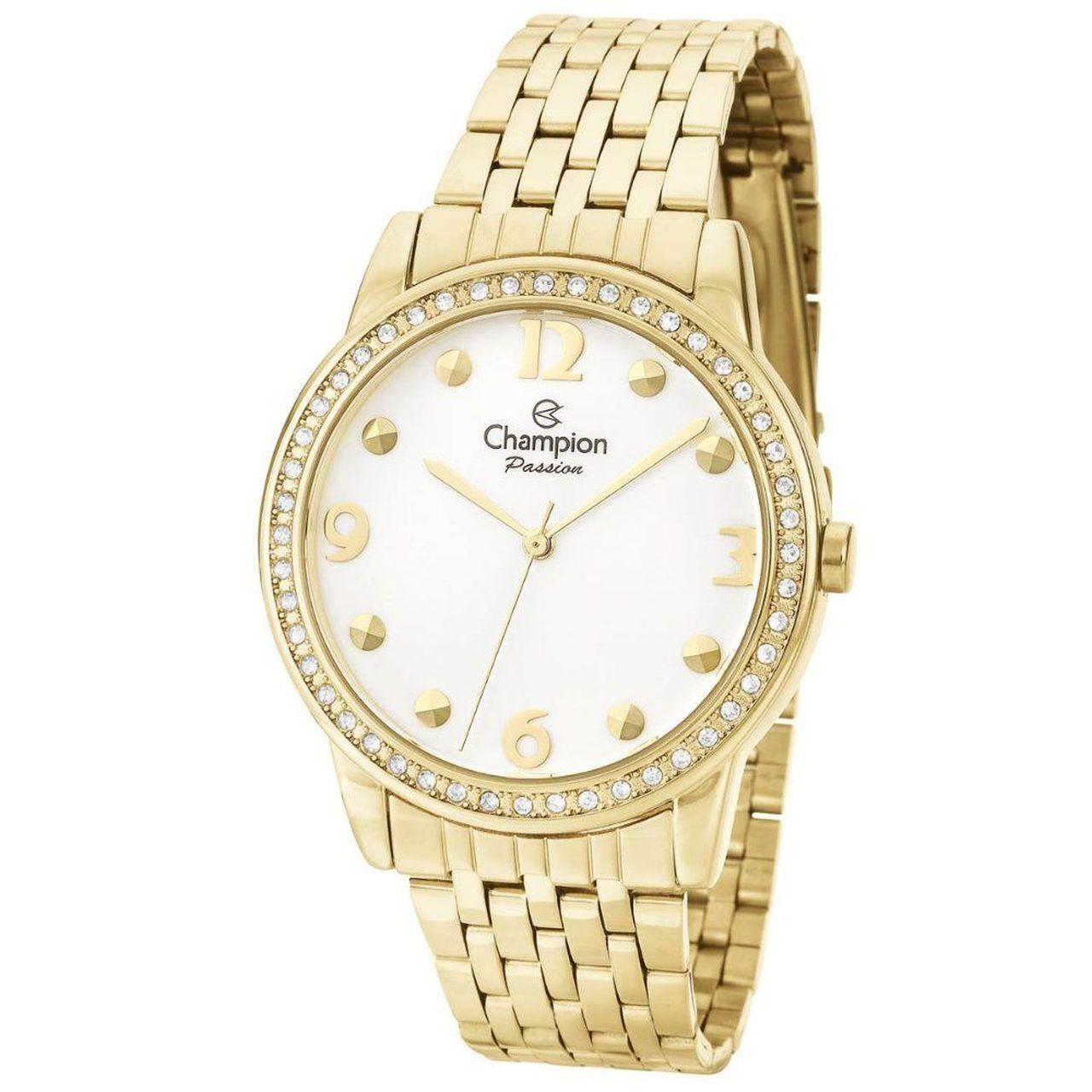 Relógio Champion Feminino Dourado Com Cristais Ch27901h