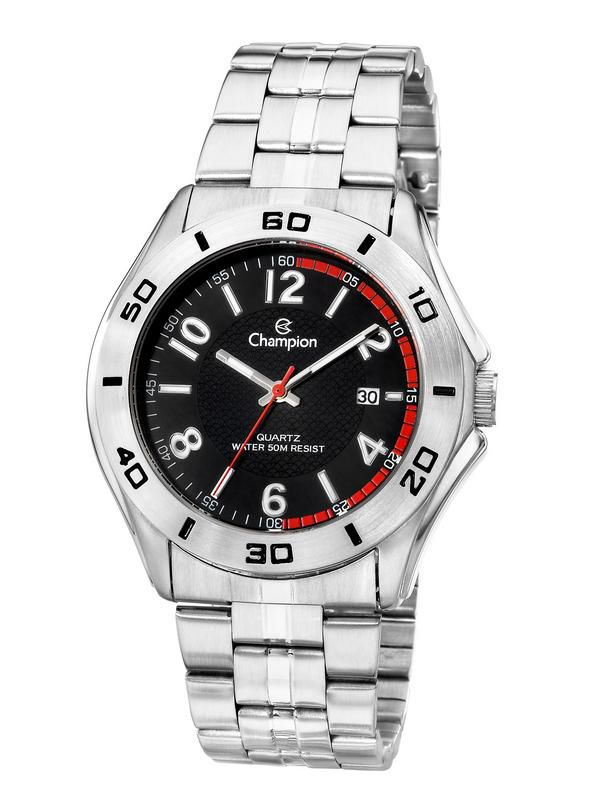 Relógio Champion Masculino Prata Fundo Preto Ca30212t