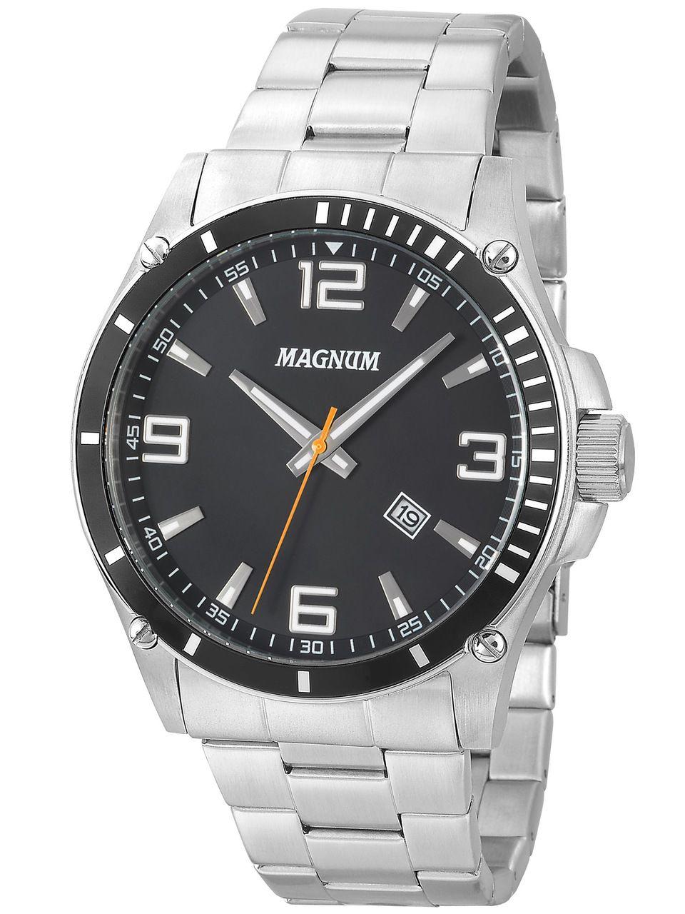 Relógio Magnum Ma34638t Masculino Prata com Fundo Preto