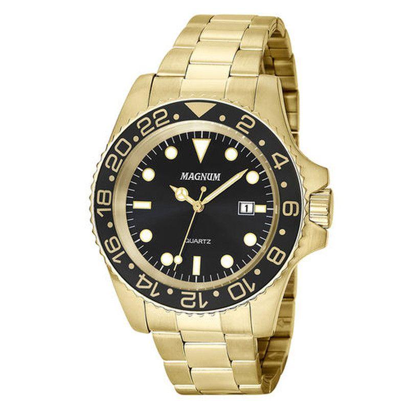 Relógio Magnum Masculino Dourado Visor Preto Ma32934u
