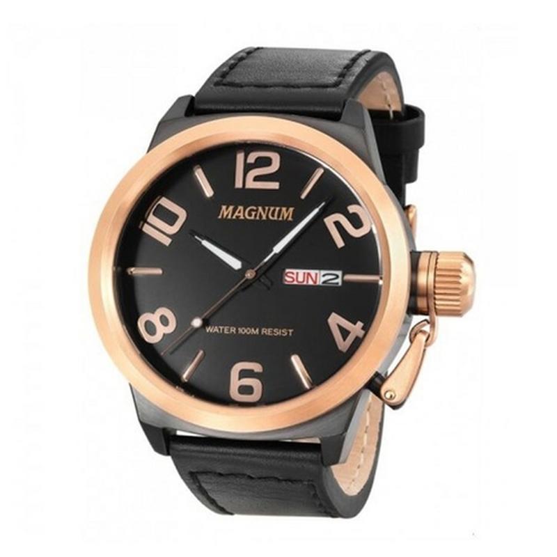 Relógio Magnum Masculino Original Preto Rosê Garantia Ma33399u