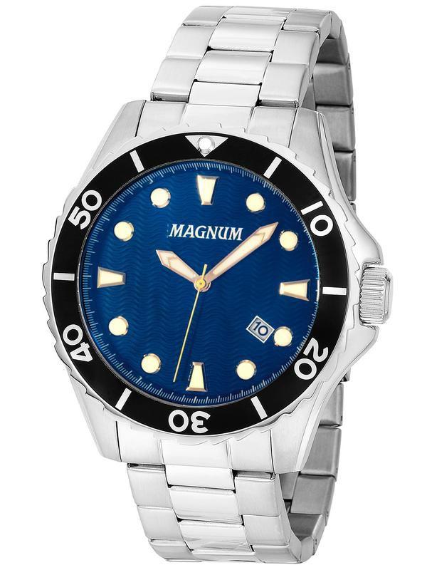 Relógio Magnum Sports Ma35011f Masculino Prata com Fundo Azul