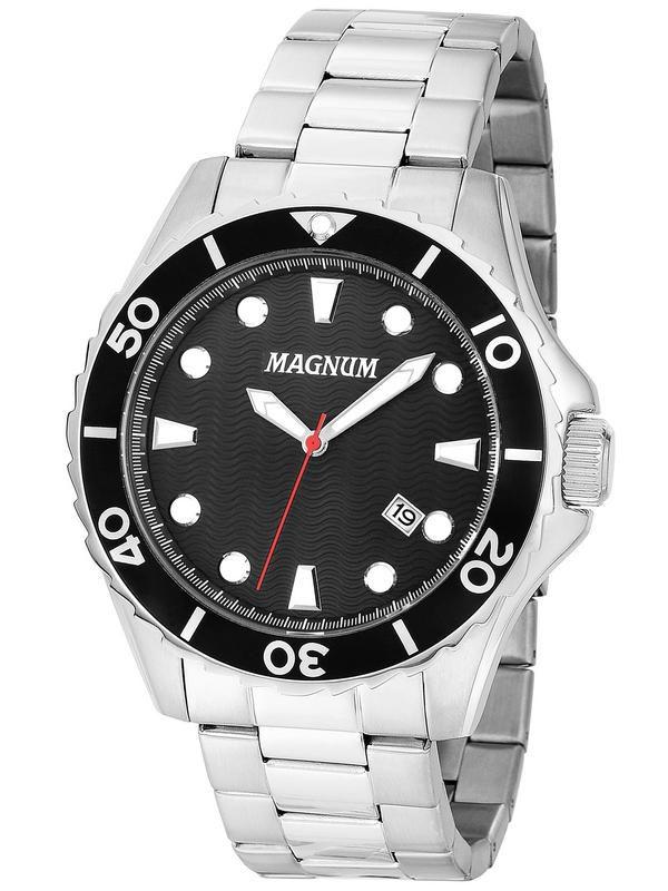 Relógio Magnum Sports Ma35011t Masculino Prata com Fundo Preto