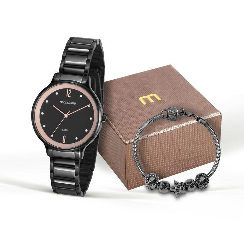 Relógio Mondaine 53578lpmgpe2 Feminino Aço Preto com Fundo Negro e Kit Semi Jóia