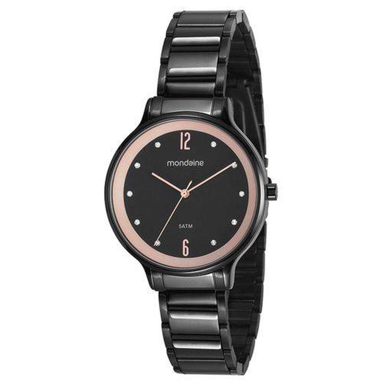 Relógio Mondaine 53626lpmvpe1 Feminino Aço Preto com Fundo Negro e Kit Semi Jóia