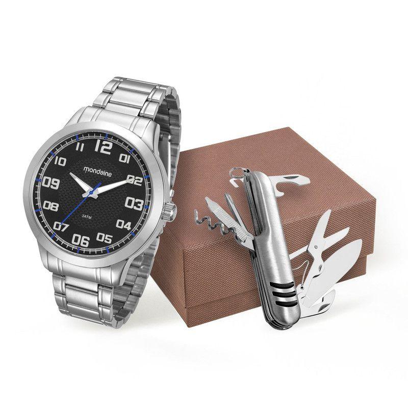 Relógio Mondaine 99142G0Mvne1 Masculino Prateado Com Canivet
