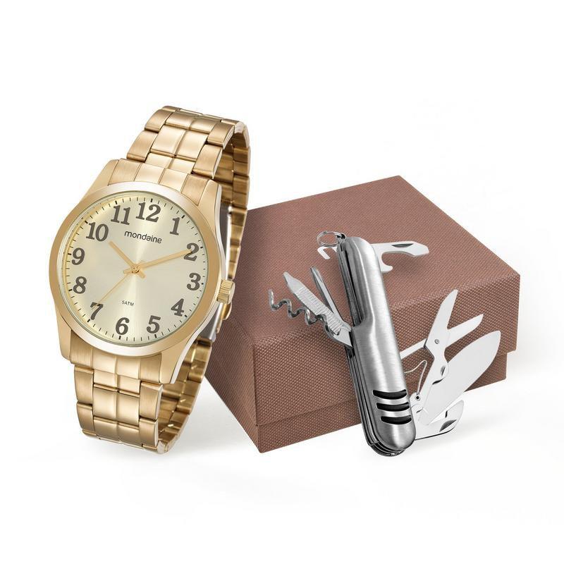 Relógio Mondaine 99192gpmvde2 Masculino Dourado com Canivete