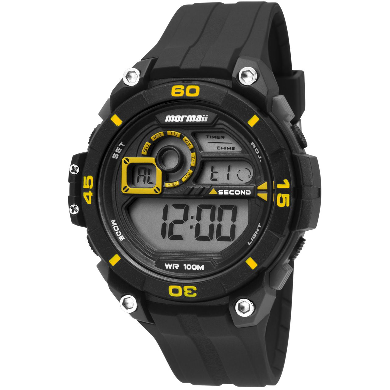 Relógio Mormaii Mo2019/8y Masculino Esportivo Digital Preto com Amarelo