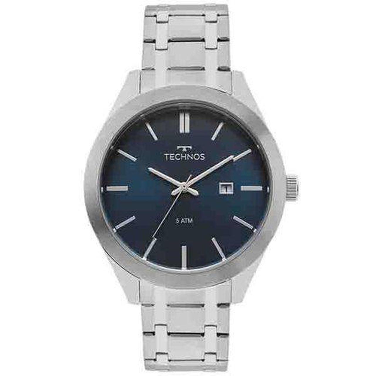 Relógio Technos Classic Steel Masculino 2115mnr1/a Prateado Steel Com Fundo Azul