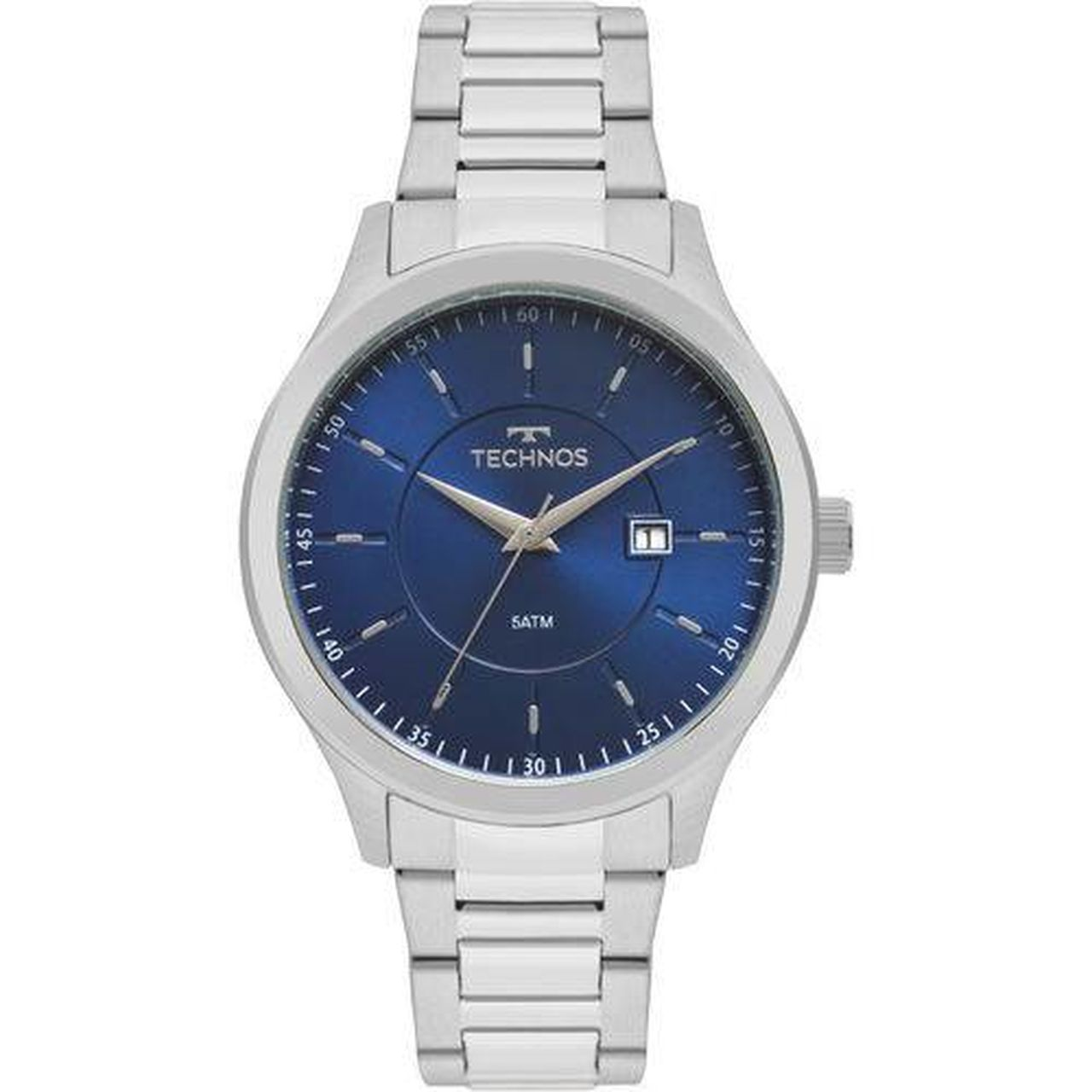 Relógio Technos Classic Steel Masculino 2115mpr1/a Prateado Com Fundo Azul