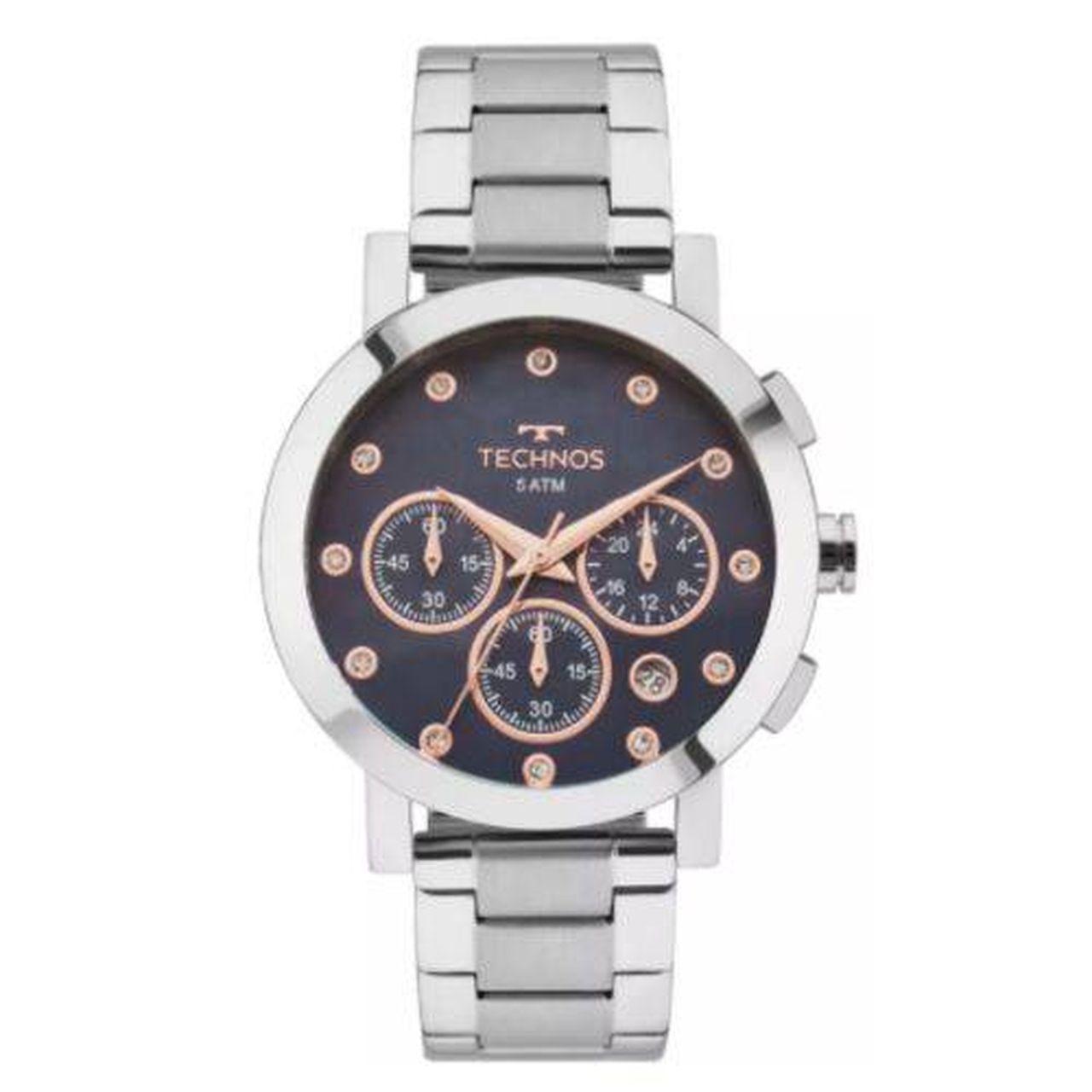 Relógio Technos Elegance Ladies Os2abj/1a Feminino Cronógrafo Prata e Fundo Azul