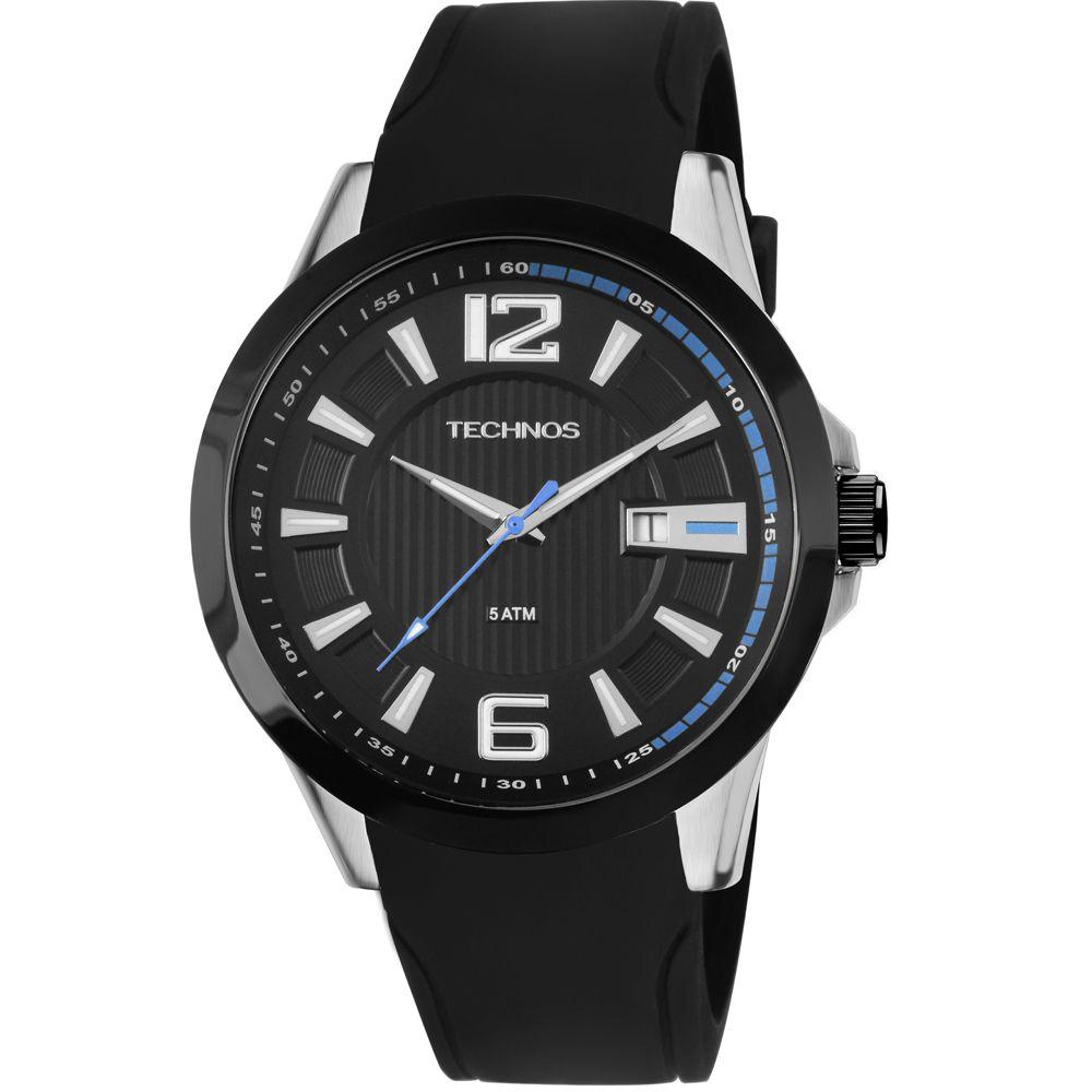 Relógio Technos Performance Racer Masculino 2115knw/8p Pulseira de Silicone Com Fundo preto