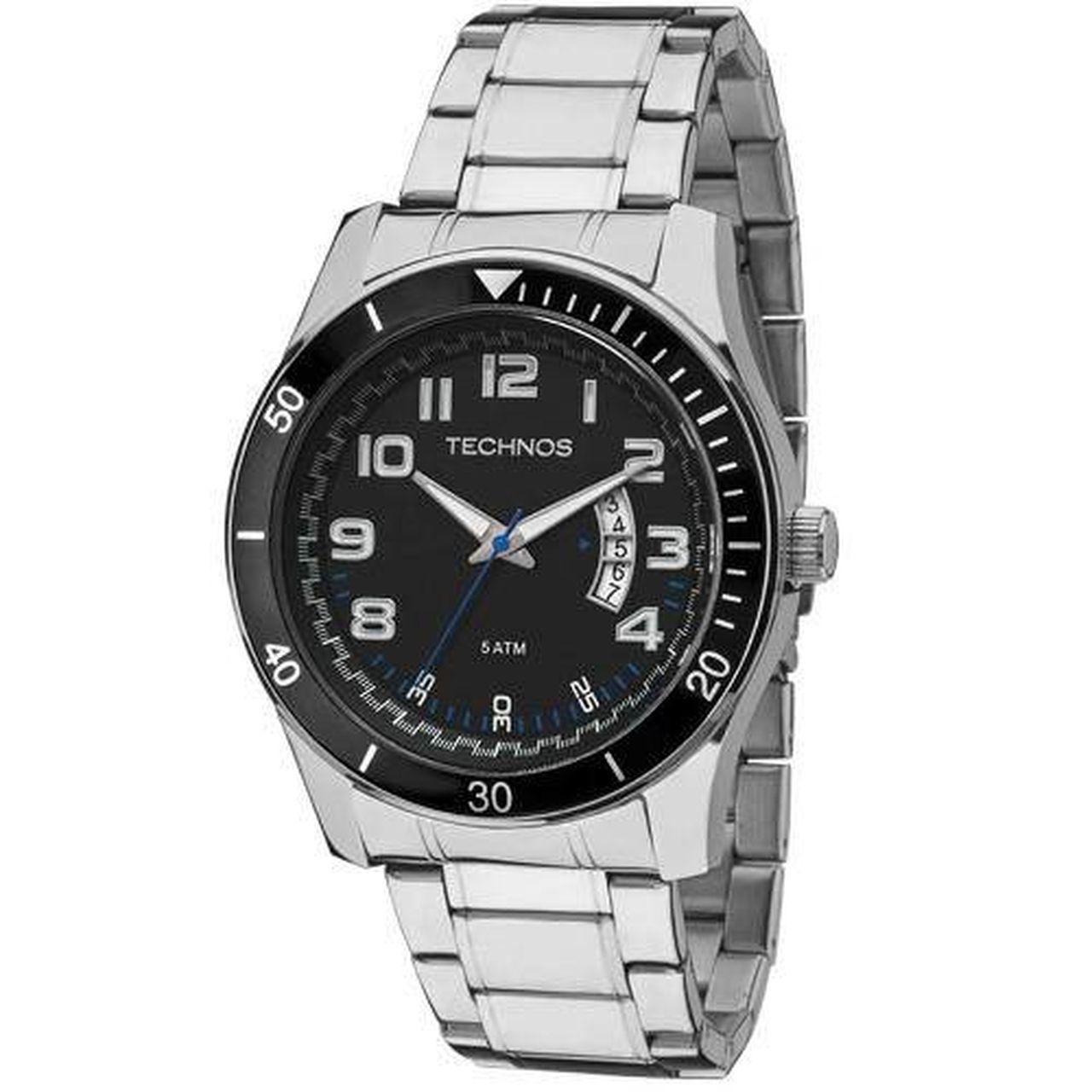 Relógio Technos Performance Racer Masculino 2115ksl/1p Prateado Com Fundo Preto
