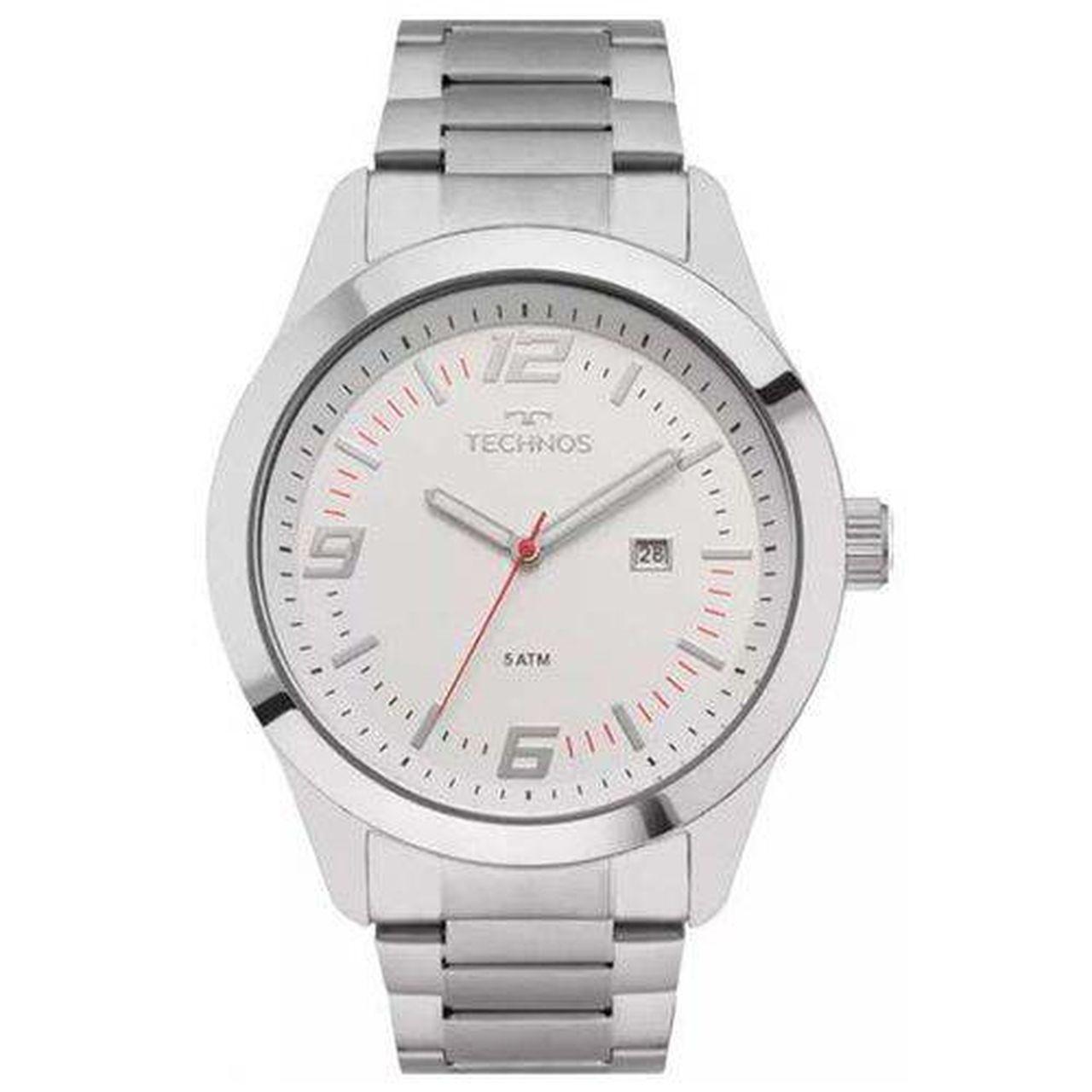 Relógio Technos Performance Racer Masculino 2115mny/1b Prateado Com Fundo Branco