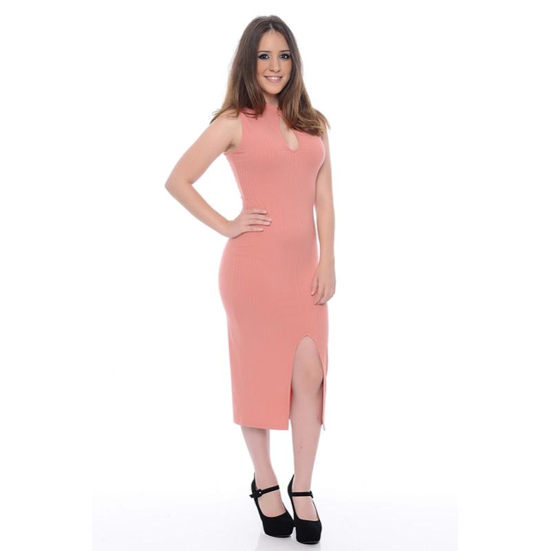 Vestido Ribana Canelado Rosê