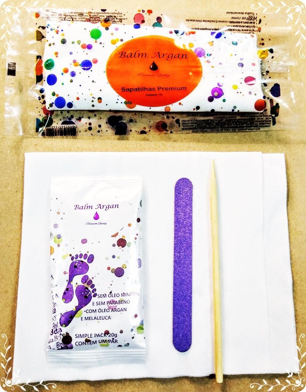 Kit Pedicure de botas hidratantes c/ lixa exp. c/palito de bambu e Toalha Desc. 30 x 40 cm Balm Argan